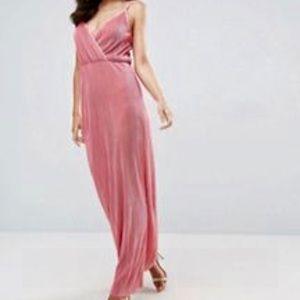 NWT ASOS Wrap front plisse coral maxi dress 6